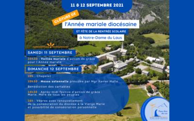 CLÔTURE DE L'ANNÉE MARIALE DIOCÉSAINE LE 12 SEPTEMBRE À NOTRE-DAME DU LAUS